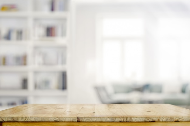 Mesa de mesa de madeira vazia no fundo da sala de estar