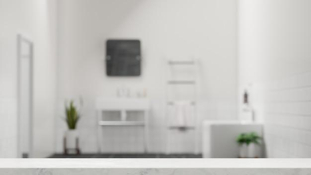 Mesa de pedra de mármore para montagem de exposição de produto com banheiro moderno quadrado branco borrado 3d