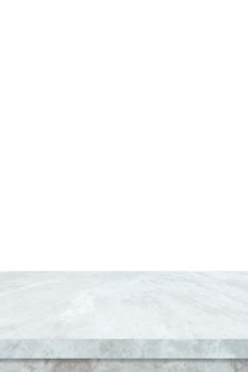Mesa de pedra em mármore branco vazia vertical isolada no fundo branco