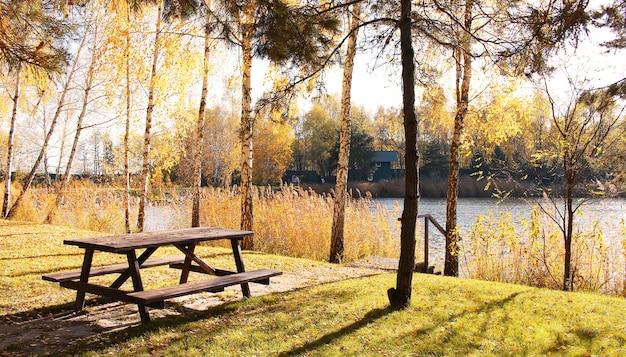 Mesa de piquenique de madeira na paisagem do parque de outono