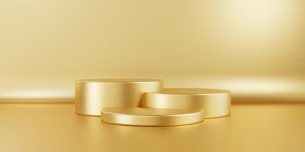 Mesa de pódio de estágio de produto de três cilindros dourada em fundo dourado