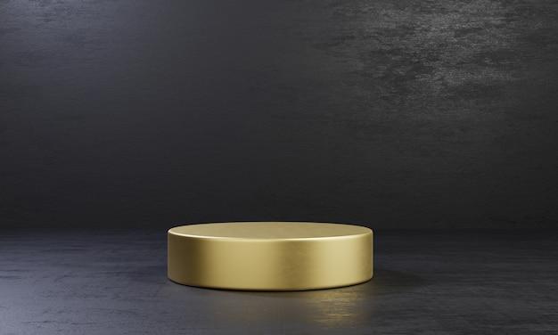 Mesa de pódio de estágio de produto de um cilindro dourado em fundo de cimento preto. tema de moda mínimo abstrato. conceito de maquete de palco de exposição de geometria. ilustração 3d renderizando design gráfico