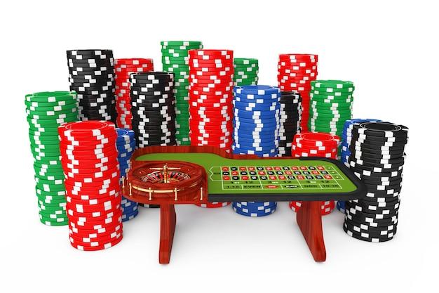 Mesa de roleta de casino clássico com fichas de casino de pôquer coloridas em um fundo branco. renderização 3d.