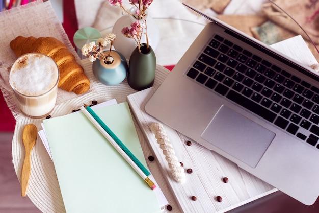 Mesa de trabalho com laptop, café e croissant