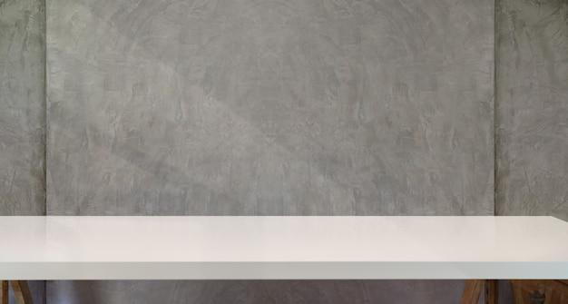 Mesa de trabalho de mesa branca com parede mínima