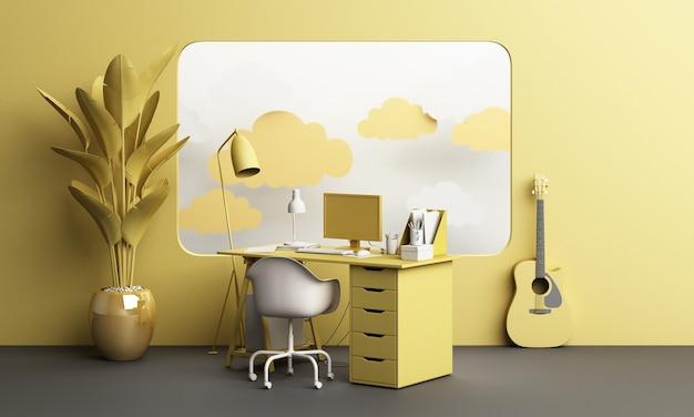 Mesa de trabalho e cadeira escritório com planta e móveis de sala definir conceito trabalho em casa com vigia de janela