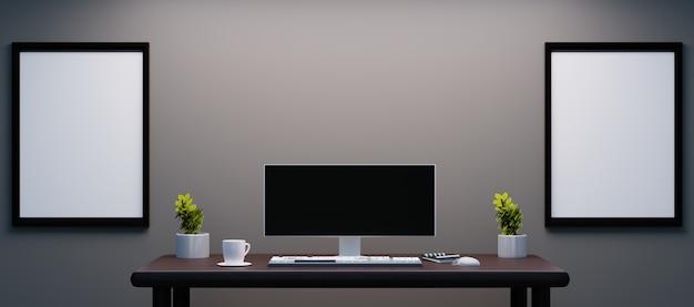 Mesa de trabalho pessoal com monitor ultra amplo e moldura de casal na parede para maquete