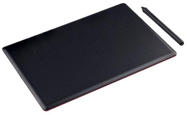 Mesa digitalizadora com caneta totalmente em foco no fundo branco