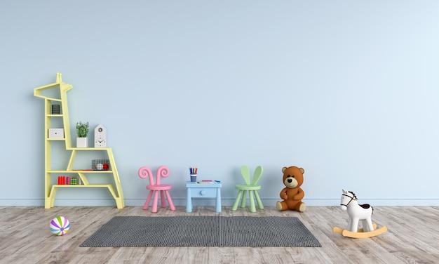Mesa e cadeira na sala de criança azul para maquete