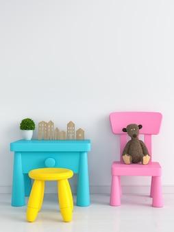 Mesa e cadeira na sala de criança branca para maquete