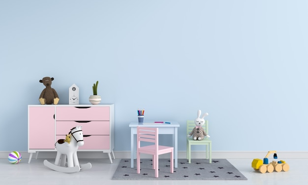 Mesa e cadeira no interior do quarto de criança azul