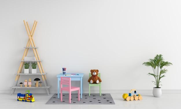Mesa e cadeira no quarto de crianças brancas
