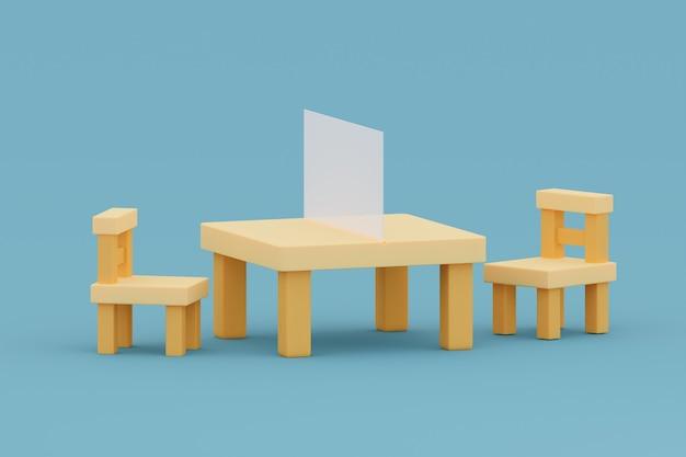 Mesa e cadeiras com divisória para trabalhar em escritório ilustração 3d