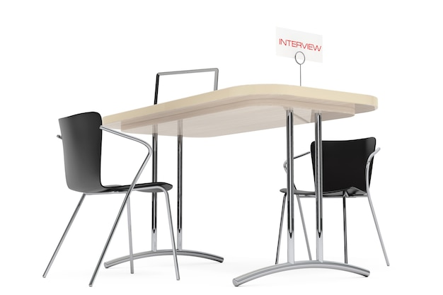Mesa e cadeiras de madeira para entrevista em um fundo branco. renderização 3d