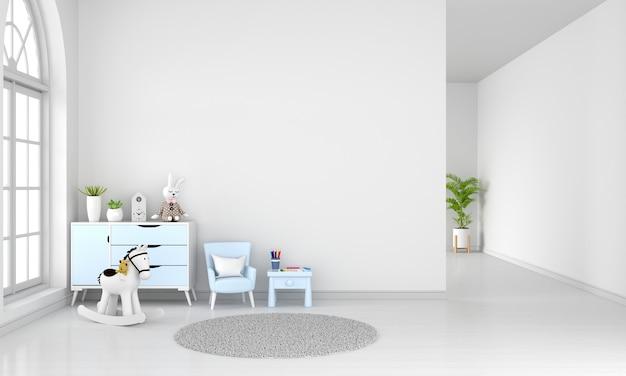 Mesa e poltrona no interior do quarto infantil branco com espaço de cópia