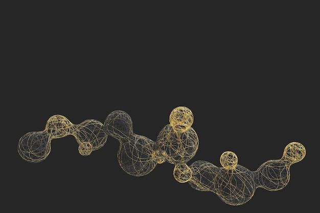 Mesa escura abstrata com a imagem de bolas divisórias tecidas com uma variedade de fios de cores brilhantes. ilustração 3d