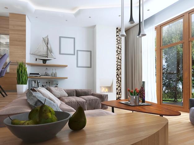 Mesa lateral com ranhura para pratos na moderna sala de estar