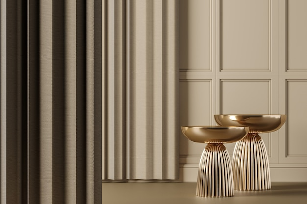 Mesa lateral de ouro dois na cena de maquete interior clássico bege, abstrato para o produto ou apresentação. renderização 3d