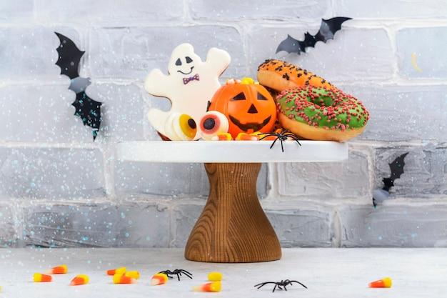 Mesa para festa de doces ou travessuras de halloween