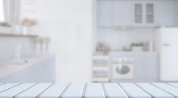 Mesa superior de madeira branca vazia com interior de sala de cozinha desfocado