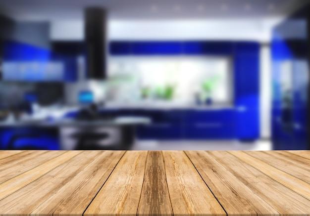 Mesa vazia de tábua de madeira turva fundo azul cozinha