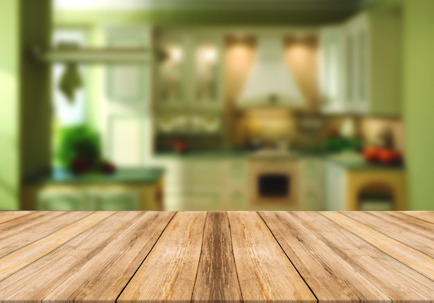 Mesa vazia de tábua de madeira turva fundo verde cozinha