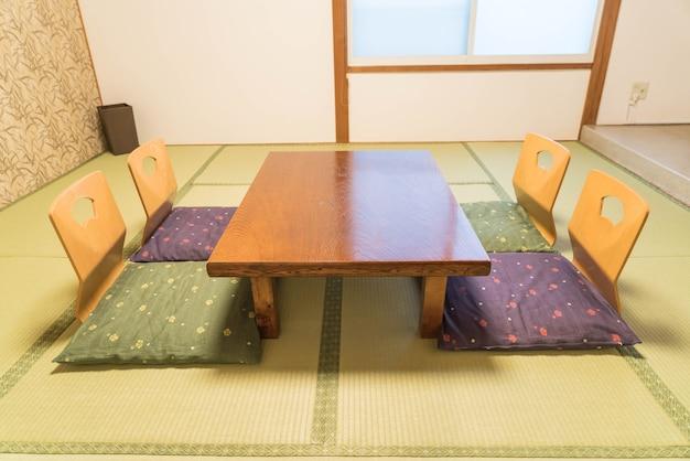 Mesa vazia e cadeira no quarto