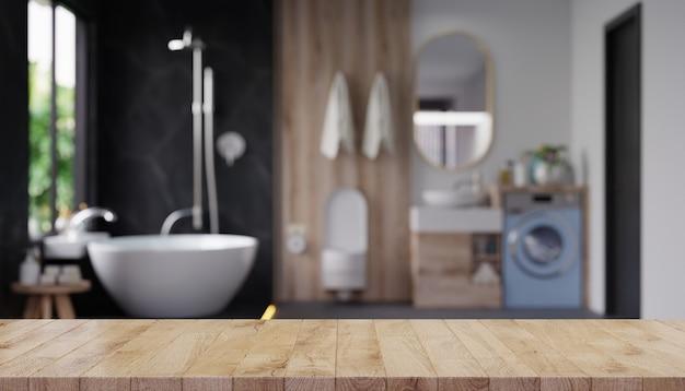 Mesa vazia para exposição de produto com banheiro borrado