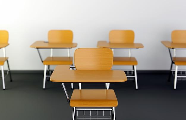 Mesas escolares em sala de aula