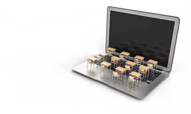Mesas escolares em um teclado de laptop. conceito de ensino a distância