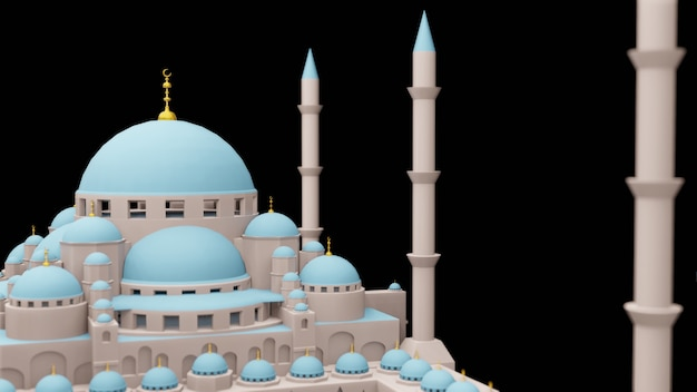 Mesquita islâmica exibição ilustração 3d renderização 3d