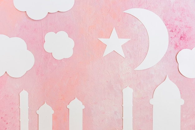 Mesquita torres e crescentes de papel