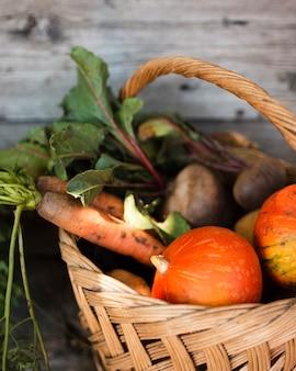 Metade de uma cesta com abóboras cenouras e rabanetes