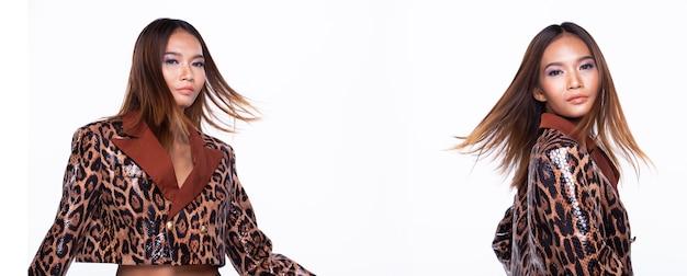Metade do corpo do retrato de mulher asiática jovem pele bronzeada alta costura usa vestido padrão de pele de cobra. iluminação de estúdio com fundo branco isolado, conceito de pacote de grupo de colagem