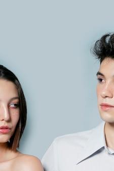 Metade do rosto de homem e mulher