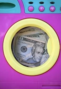 Metáfora do dólar de dinheiro preto de limpeza