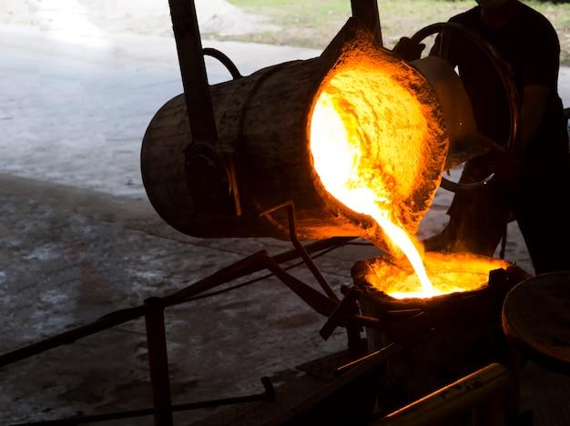 Metal fundido de ferro derretido derramado em concha