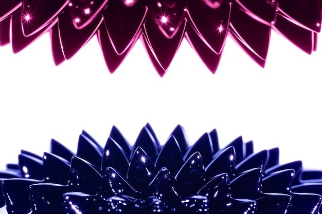 Metal líquido ferromagnético azul e roxo com espaço de cópia