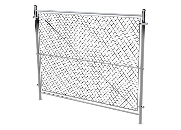 Metal wire fence - isolated uma cerca de arame isolada no branco. renderização 3d