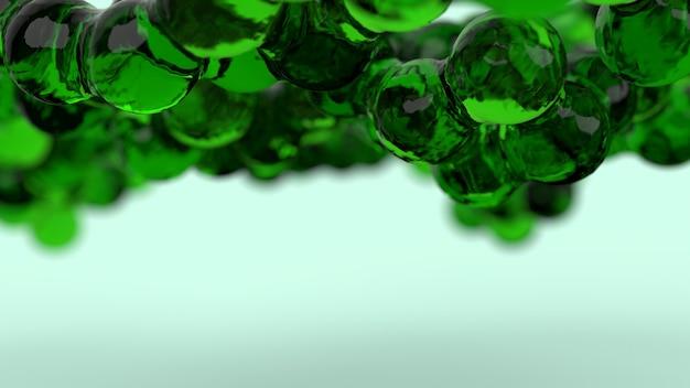 Metamorfoses volumétricas de vidro de cor verde