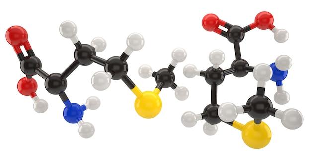 Metionina, molécula, estrutura, 3d, ilustração, com, caminho cortante