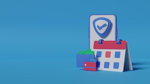 Método de pagamento de renderização 3d para fundo de compras online