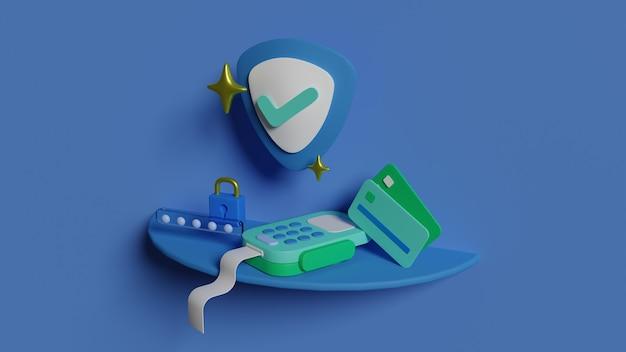 Métodos de pagamento de segurança 3d render