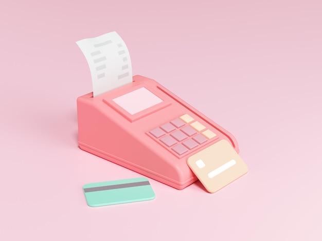 Métodos de pagamento pós-terminal, pagamento online por cartão de crédito ilustração 3d render