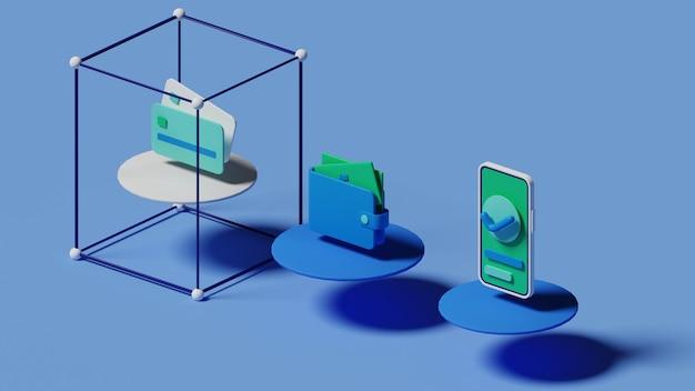 Métodos de pagamento renderização em 3d