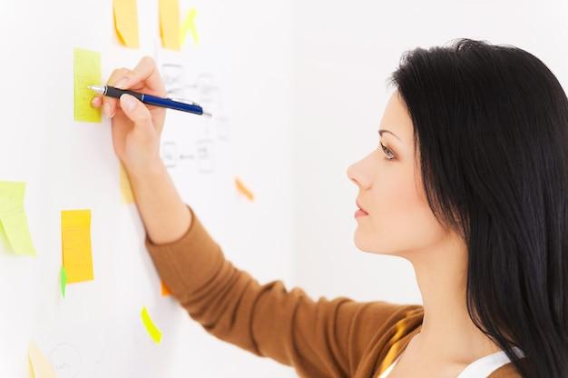 Meu lembrete. mulheres sorridentes escrevendo em papéis adesivos