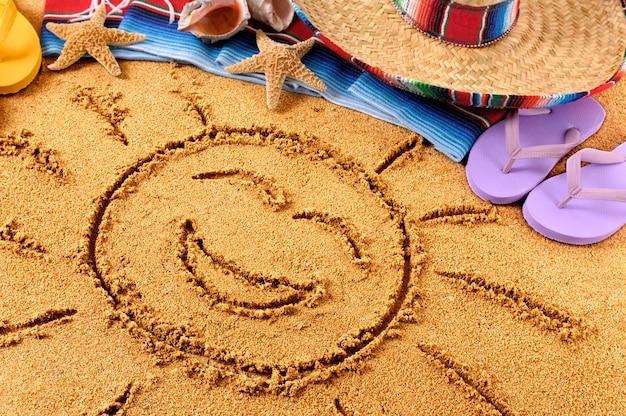 México, sorrindo, sol praia, desenho