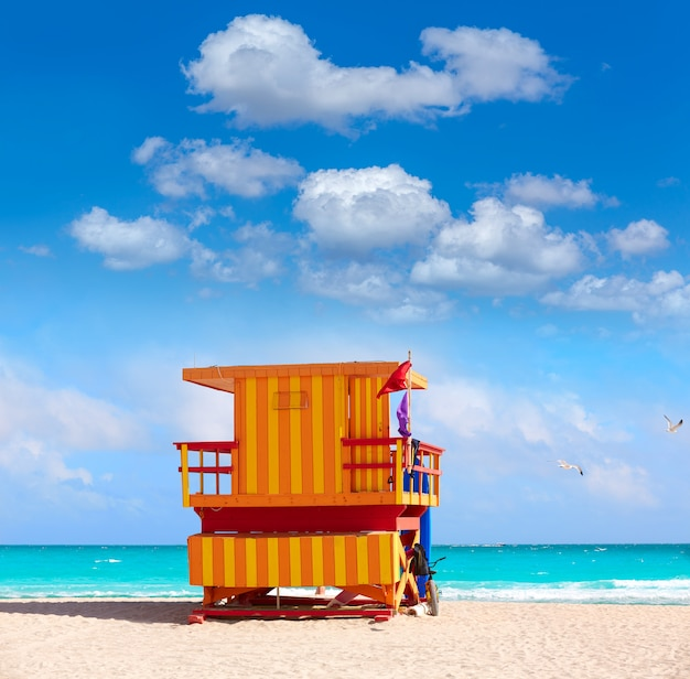 Miami, praia, baywatch, torre, praia sul, flórida