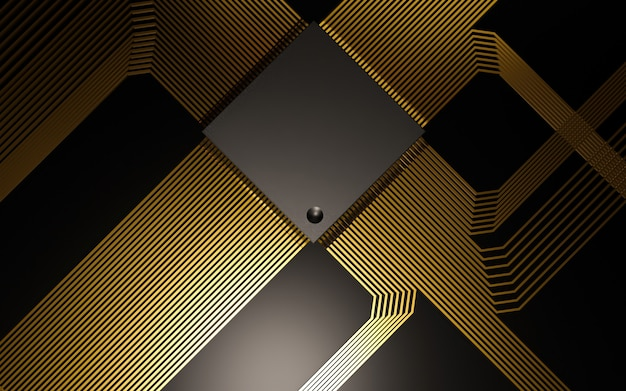 Micro chip preto com circuitos dourados brilhantes