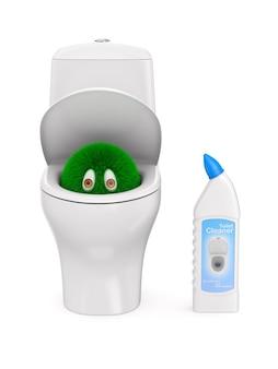Micróbio no vaso sanitário e limpador de garrafas na superfície branca isolado
